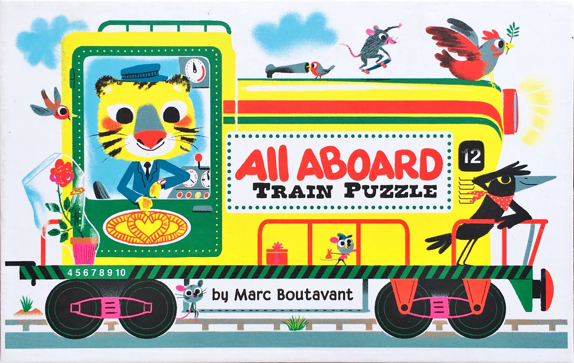 All aboard train puzzle box cover
