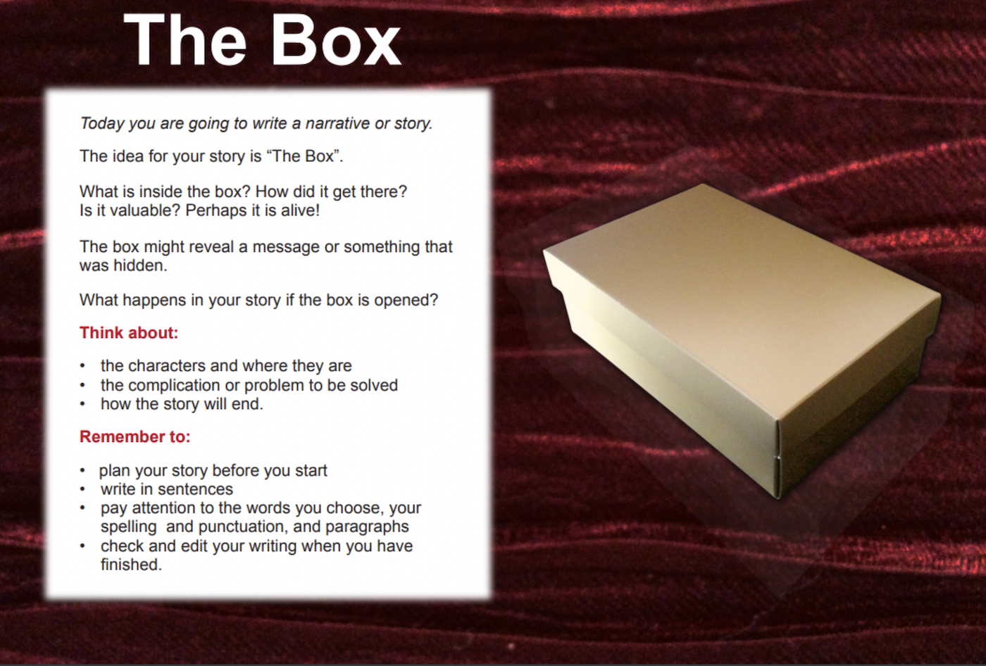 The box - creative writing tool