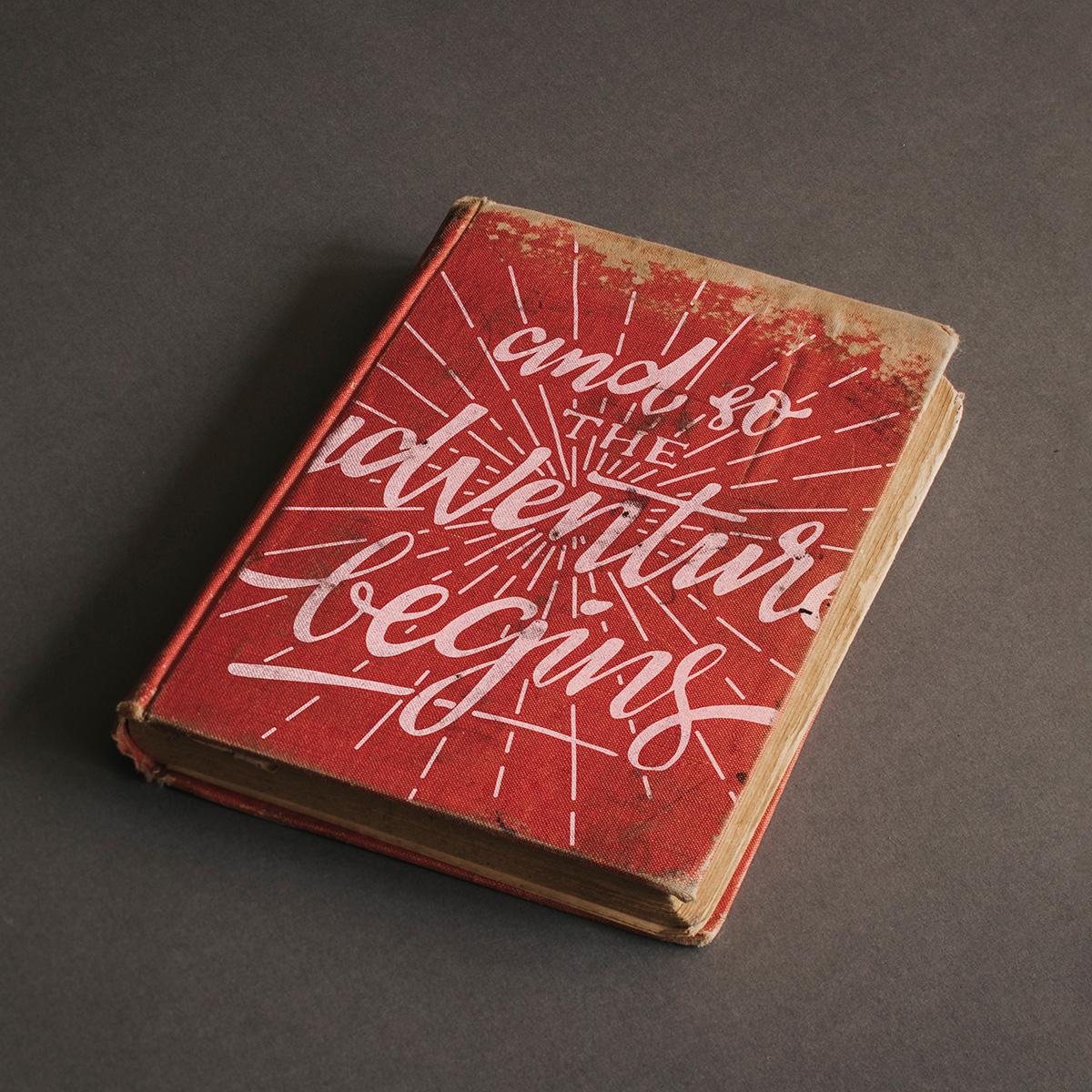 Old adventure book mockup